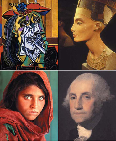 four faces in different art styles