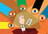 man with paper surrounded by eyes cartoon