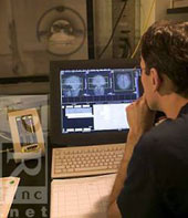 Looking at a screen of MRI images