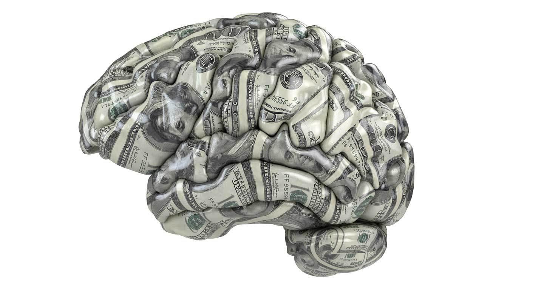 dollar bills shaped into a brain