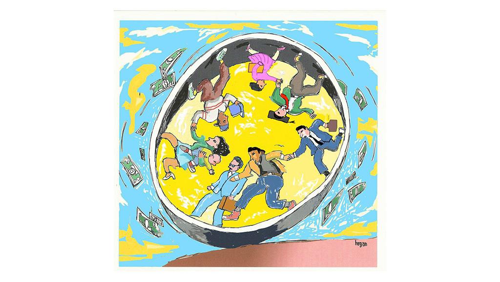 cartoon of people running in human-sized hamster wheel