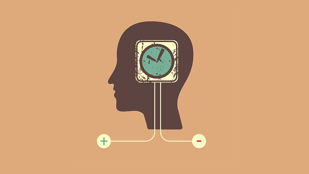 cartoon of clock embedded in head