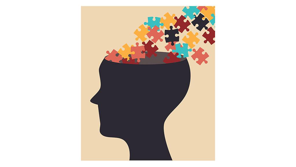 cartoon puzzle pieces flowing into head