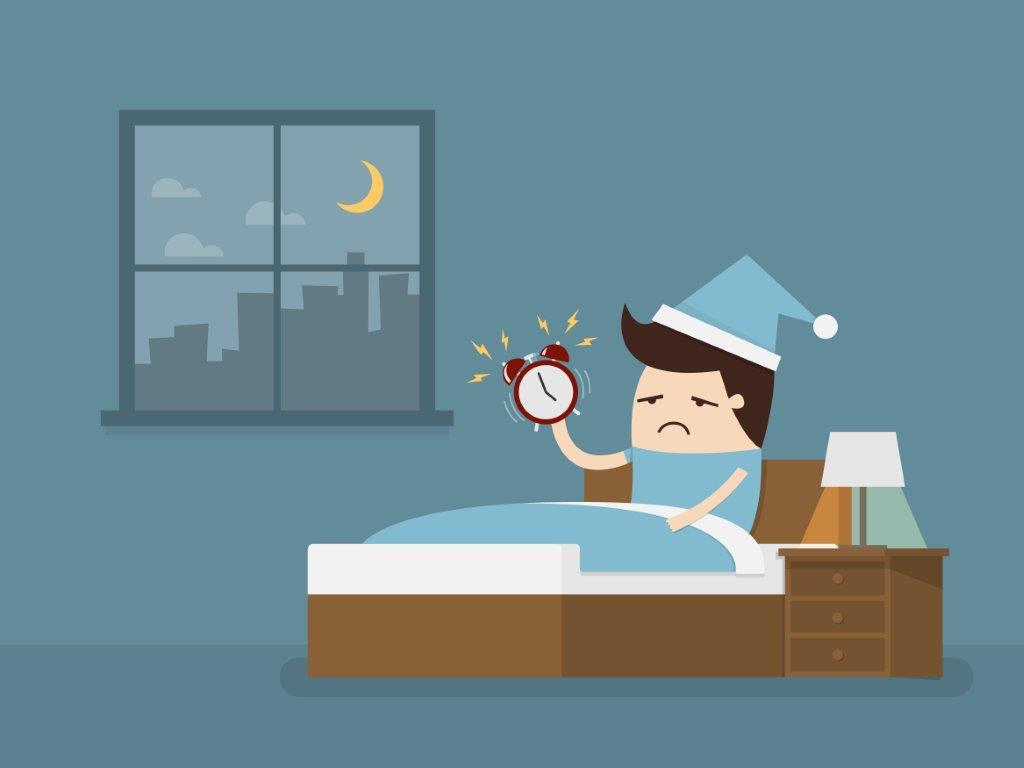 sleepy guy with alarm clock cartoon