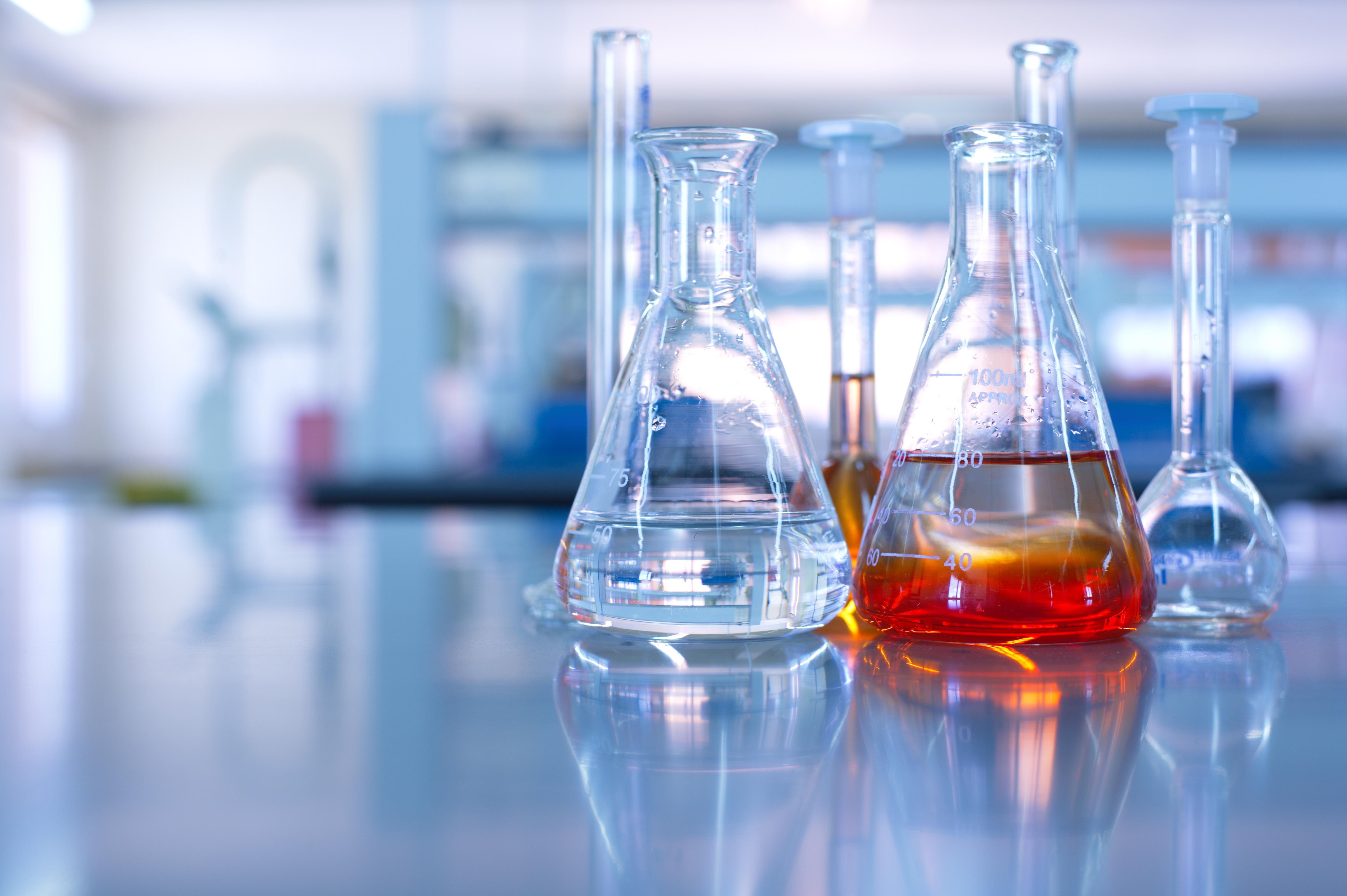 flasks in a lab