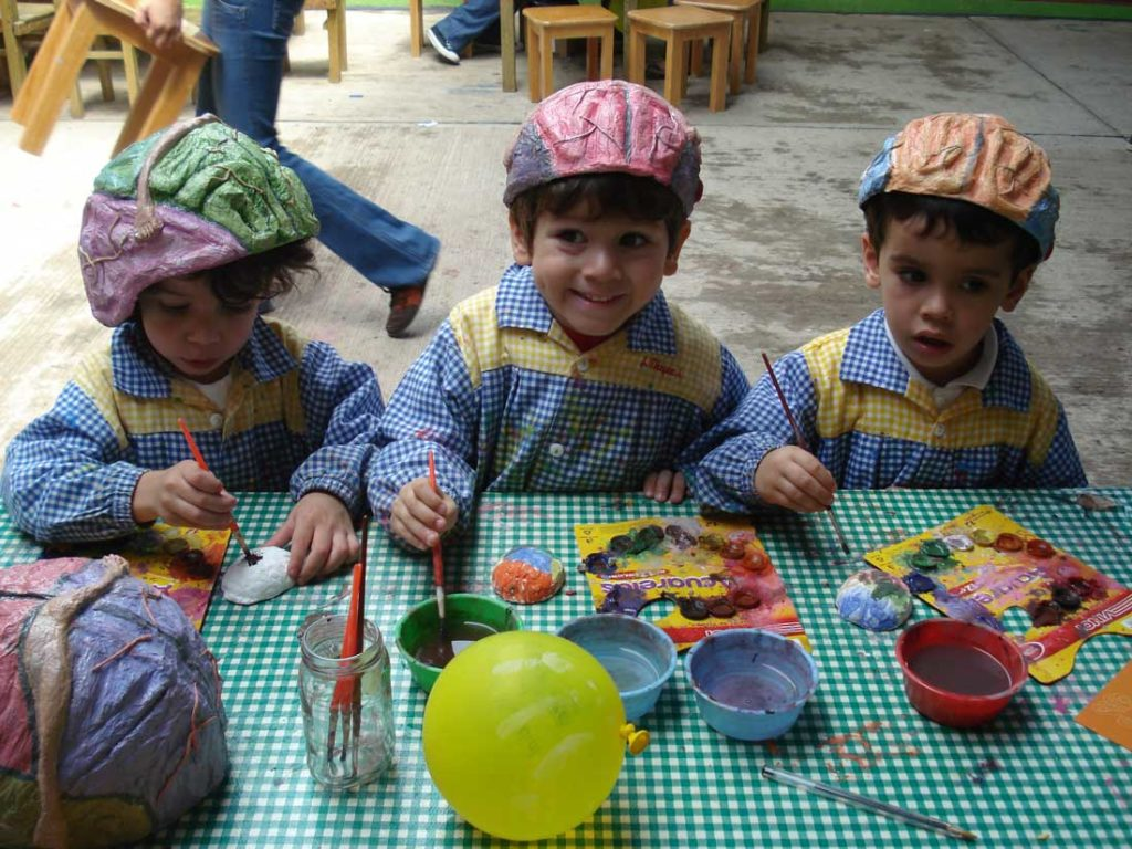 kids and brain hats