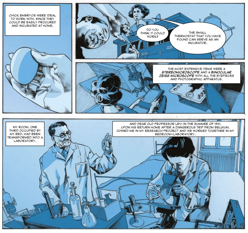panel from graphic novel of Rita working in her bedroom lab