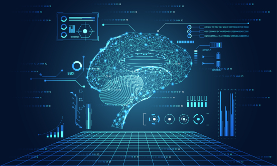 cartoon of brain as mechanical drawing