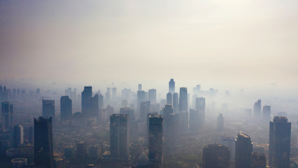 air pollution over city jakarta indonesia