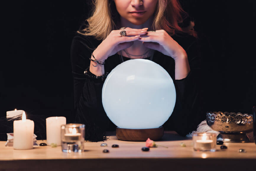 woman over crystal ball