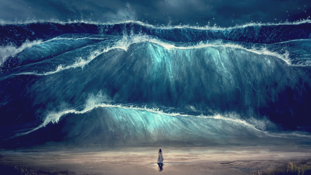 painting of person on beach facing an oncoming tidal wave