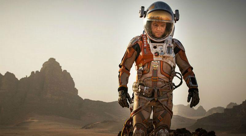 movie still of astronaut outside on Mars